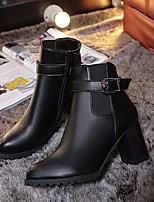 Недорогие -Жен. Обувь Полиуретан Зима Осень Ботильоны Удобная обувь Ботинки На толстом каблуке Ботинки для Повседневные Черный