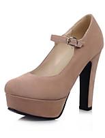 Недорогие -Для женщин Обувь Нубук Весна Осень Удобная обувь Оригинальная обувь Обувь на каблуках Высокий каблук Круглый носок Пряжки для Свадьба Для