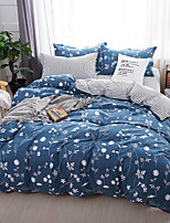 cheap -Duvet Cover Sets Floral Contemporary 4 Piece Poly/Cotton Reactive Print Poly/Cotton 4pcs (1 Duvet Cover 1 Flat Sheet 2 Shams) (If Twin