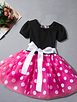 cheap -Girl's Daily Going out Polka Dot DressCotton Polyester Summer Short Sleeve Simple Cute Active Fuchsia Red