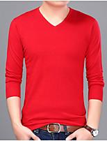 Недорогие -Муж. Однотонный На каждый день Пуловер, Повседневные Длинный рукав V-образный вырез Полиэстер Все сезоны