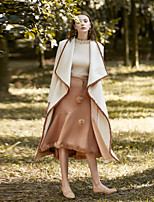 cheap -MASKED QUEEN Women's Daily Holiday Simple Winter CoatSolid Cowl Long Sleeve Maxi Polyester