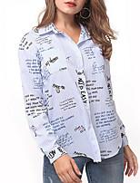cheap -Women's Daily Casual Fall Shirt,Striped Shirt Collar Long Sleeve Cotton Opaque