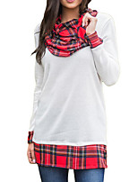 cheap -Women's Daily Casual Winter Fall T-shirt,Color Block Turtleneck Long Sleeve Polyester Opaque