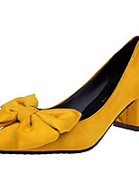 cheap -Women's Shoes PU Spring Basic Pump Heels Walking Shoes Low Heel Pointed Toe Bowknot for Casual Pink Yellow Black