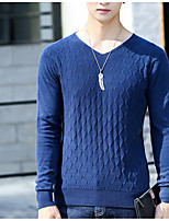 cheap -Men's Daily Casual Regular Pullover,Solid V Neck Long Sleeves Polyester Winter Opaque Micro-elastic