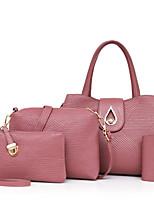 preiswerte -Damen Taschen PU Bag Set 4 Stück Geldbörse Set Reißverschluss für Normal Alle Jahreszeiten Blau Schwarz Rote Rosa Purpur
