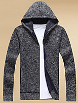 cheap -Men's Going out Casual Long Cardigan,Solid Hooded Long Sleeves Polyester Winter Fall Opaque Micro-elastic