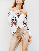 cheap -Women's Beach Polyester Blouse - Floral Boat Neck