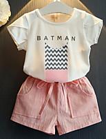 Недорогие -Девочки Набор одежды Повседневные Хлопок Слова Лето Длинные рукава Розовый