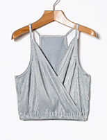 cheap -Women's Daily Active Sexy Spring Summer Tank Top,Solid V Neck Sleeveless Polyester