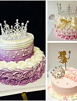 cheap -Cake Topper Fairytale Theme Romance Birthday Bling Bling Princess Alloy Wedding Birthday with Rhinestone Metallic 1 Gift Bag