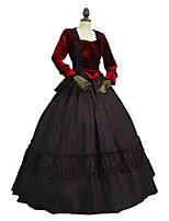 cheap -Rococo Victorian Costume Adults' Outfits Black/Red Vintage Cosplay Plush Fabric Pure Cotton Long Sleeves Puff/Balloon