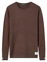 cheap -Men's Party Regular Pullover,Solid Round Neck Long Sleeves Polyester Fall Opaque strenchy