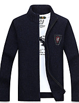 cheap -Men's Daily Simple Casual Solid Color V Neck Cardigan, Long Sleeves Spring Polyester