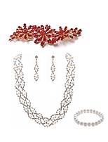 abordables -Mujer Pulseras del filamento Los sistemas nupciales de la joyería Cristal Europeo Moda Boda Fiesta Perla Artificial Diamante Sintético