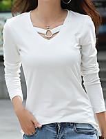 preiswerte -Damen Solide Freizeit Alltag T-shirt,Rundhalsausschnitt Herbst Langärmelige Baumwolle
