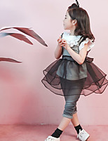 Недорогие -Девичий Платье Повседневные Хлопок Бамбуковая ткань Однотонный Осень С короткими рукавами Винтаж Черный