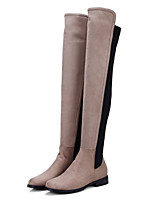 cheap -Women's Shoes Nubuck leather Winter Fall Comfort Novelty Fashion Boots Boots Flat Pointed Toe Over The Knee Boots for Office & Career