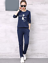 cheap -Women's Casual/Daily Simple Fall Hoodie Pant Suits,Print Round Neck Long Sleeves Cotton Polyester