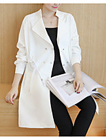 cheap -Women's Daily Casual Fall Trench Coat,Solid Round Neck Long Sleeve Long Cotton Oversized