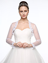 cheap -Long Sleeves Lace Tulle Wedding Party / Evening Women's Wrap With Applique Shrugs