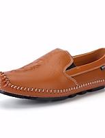 Недорогие -Муж. обувь Кожа Весна Осень Удобная обувь Мокасины и Свитер для Повседневные Черный Коричневый Синий