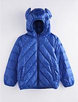 Недорогие -Девочки На пуховой / хлопковой подкладке Однотонный Зима Синий Красный Тёмно-синий