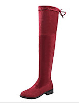 cheap -Women's Shoes Nubuck leather Spring Fall Comfort Fashion Boots Boots Flat Heel Over The Knee Boots for Casual Burgundy Gray Black