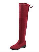 Недорогие -Для женщин Обувь Нубук Весна Осень Удобная обувь Модная обувь Ботинки На плоской подошве Сапоги выше колена для Повседневные Черный Серый