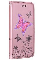 baratos -Capinha Para Samsung Galaxy S8 Plus S8 Carteira Porta-Cartão Com Suporte Flip Com Relevo Corpo Inteiro Borboleta Rígida Couro Ecológico