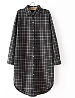 cheap -Women's Daily Cute Shirt,Solid Shirt Collar Long Sleeve Cotton