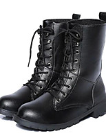 cheap -Unisex Shoes PU Winter Fall Comfort Combat Boots Boots Flat Heel Mid-Calf Boots for Casual Black