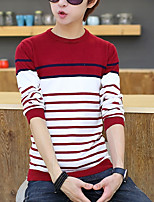 cheap -Men's Going out Casual Long Pullover,Solid Striped Round Neck Long Sleeves Polyester Winter Fall Opaque strenchy