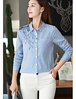 cheap -Women's Daily Casual Shirt,Striped Shirt Collar Long Sleeve Silk
