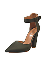 cheap -Women's Shoes Nubuck leather Summer Fall Comfort Heels Chunky Heel Pointed Toe Closed Toe Buckle for Casual Dress Wine Army Green Black