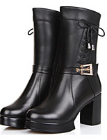 cheap -Women's Shoes Nappa Leather Cowhide Winter Fall Comfort Fashion Boots Boots Chunky Heel Mid-Calf Boots for Casual Black Brown