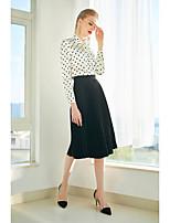 cheap -ZIYI Women's Going out Vintage Spring Summer Shirt,Polka Dot Crew Neck Short Sleeve Silk