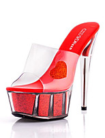 cheap -Women's Shoes Silicone Summer Basic Pump Heels Stiletto Heel Round Toe Crystal for Outdoor Red