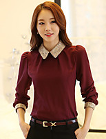cheap -Women's Casual/Daily Street chic Blouse,Solid Shirt Collar Long Sleeves Polyester