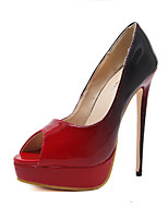 preiswerte -Damen Schuhe PU Frühling Sommer Komfort Neuheit High Heels Stöckelabsatz Peep Toe für Hochzeit Party & Festivität Schwarz