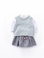Недорогие -Девочки Набор одежды Повседневные Хлопок Однотонный Весна Длинный рукав Активный Светло-синий