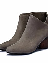 cheap -Women's Shoes Leather Nubuck leather Winter Fall Comfort Bootie Boots Chunky Heel for Casual Black Khaki