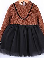 abordables -Robe Fille de Quotidien Couleur Pleine Mosaïque Coton Printemps simple Rouge Kaki