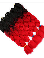 cheap -Jumbo Hair Braid 5pcs Crochet Afro Ombre Braiding Hair 100% Kanekalon Hair Black/Red Hair Extension