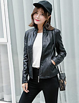 cheap -Women's Going out Street chic Fall Leather Jacket,Solid Stand Long Sleeve Regular PU Oversized