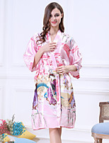 abordables -Satin & Soie Ultra Sexy Pyjamas Femme Opaque Fin Polyester Violet Jaune Vin Bleu royal Lavande