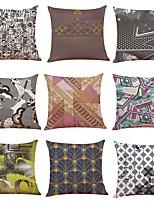 cheap -9 pcs Linen Pillow Cover,Geometric Art Deco Plaid/Check