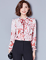 cheap -Women's Casual/Daily Street chic Blouse,Print Stand Long Sleeves Polyester