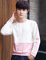 cheap -Men's Casual/Daily Sweatshirt Color Block Round Neck Micro-elastic Cotton Long Sleeves Fall